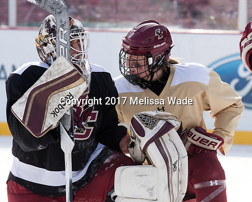 Katie Burt (BC - 33), Rachel Moore (BC - 8) - The Boston College Eagles practiced at Fenway on Monday, January 9, 2017, in Boston, Massachusetts.Katie Burt (BC - 33), Rachel Moore (BC - 8) - The Boston College Eagles practiced at Fenway on Monday, January 9, 2017, in Boston, Massachusetts.