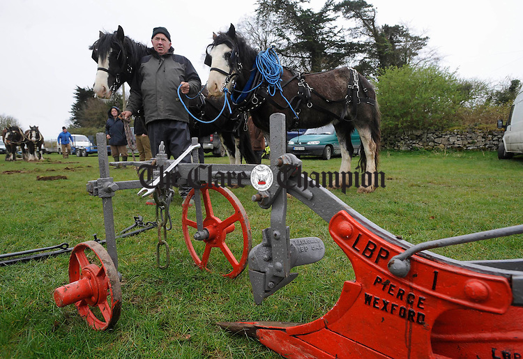 Cree man Tony Haugh about to take part  in the Clare Ploughing Association's county championships at Newmarket On Fergus. Photograph by John Kelly.