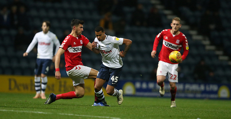 Preston North End's Lukas Nmecha loses possession to Middlesbrough's Danny Batth<br /> <br /> Photographer Stephen White/CameraSport<br /> <br /> The EFL Sky Bet Championship - Preston North End v Middlesbrough - Tuesday 27th November 2018 - Deepdale Stadium - Preston<br /> <br /> World Copyright © 2018 CameraSport. All rights reserved. 43 Linden Ave. Countesthorpe. Leicester. England. LE8 5PG - Tel: +44 (0) 116 277 4147 - admin@camerasport.com - www.camerasport.com