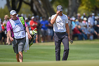 Henrik Stenson (SWE) tips his hat to the gallery after chipping up tight on 1 during day 1 of the WGC Dell Match Play, at the Austin Country Club, Austin, Texas, USA. 3/27/2019.<br /> Picture: Golffile | Ken Murray<br /> <br /> <br /> All photo usage must carry mandatory copyright credit (© Golffile | Ken Murray)