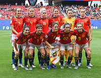 20190612 - VALENCIENNES , FRANCE : Spanish team with Sandra Panos (13)   Irene Paredes (4)   Marta Corredera (7)   Marta Torrejon (8)   Mariona Caldentey (9)   Jennifer Hermoso (10)   Alexia Putellas (11)   Virginia Torrecilla (14)   Silvia Meseguer (15)   Maria Leon (16)   Nahikari Garcia (22) pictured during the female soccer game between Germany  and Spain  , the second game for both teams in group B during the FIFA Women's  World Championship in France 2019, Wednesday 12 th June 2019 at the Stade du Hainaut Stadium in Valenciennes , France .  PHOTO SPORTPIX.BE | DIRK VUYLSTEKE
