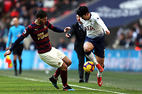 Fabian Schar of Newcastle United and Son Heung-Min of Tottenham Hotspur during Tottenham Hotspur vs Newcastle United, Premier League Football at Wembley Stadium on 2nd February 2019