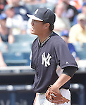 Masahiro Tanaka (Yankees),<br /> MARCH 25, 2015 - MLB :<br /> Pitcher Masahiro Tanaka of the New York Yankees looks dejected after giving up a double in the fifth inning during a spring training baseball game against the New York Mets at George M. Steinbrenner Field in Tampa, Florida, United States. (Photo by AFLO)