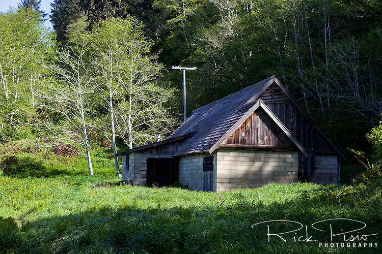 World War II radar staion B71 still stands along the California coast in Redwood National Park. The cinder block structures with shingled roof and fake dormers was meant to look like a farmhouse from the air but in reality housed an early warning radar station.