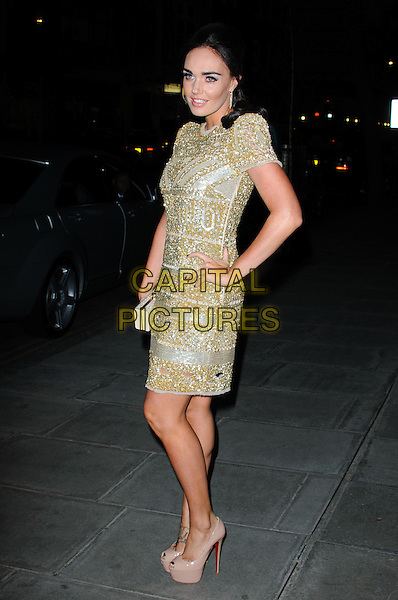 Tamara Ecclestone.The Rodial Beautiful Awards 2012, held at the Sanderson - Arrivals .London, England..March 6th, 2012.full length gold beads beaded dress hand on hip side .CAP/CJ.©Chris Joseph/Capital Pictures.