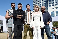FX FEARLESS FORUM AT SAN DIEGO COMIC-CON© 2019: L-R: Cast Member Clayton Cardenas, Co-Executive Creator Elgin James, Cast Members JD Pardo, Sarah Bolger and Edward James Olmos during the MAYANS M.C. activation on Saturday, July 20 at SAN DIEGO COMIC-CON© 2019. CR: Frank Micelotta/FX/PictureGroup © 2019 FX Networks
