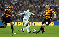 Pictured: Wayne Routledge (C) and Gary Jones (R). Sunday 24 February 2013<br /> Re: Capital One Cup football final, Swansea v Bradford at the Wembley Stadium in London.
