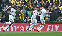 Wolverhampton Wanderers' Matt Doherty celebrates scoring his side's first goal <br /> <br /> Photographer Rob Newell/CameraSport<br /> <br /> Emirates FA Cup Semi-Final  - Watford v Wolverhampton Wanderers - Sunday 7th April 2019 - Wembley Stadium - London<br />  <br /> World Copyright © 2019 CameraSport. All rights reserved. 43 Linden Ave. Countesthorpe. Leicester. England. LE8 5PG - Tel: +44 (0) 116 277 4147 - admin@camerasport.com - www.camerasport.com