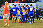 Forest celebrate their fourth goal - Blackpool vs. Nottingham Forest - Skybet Championship - Bloomfield Road - Blackpool - 14/02/2015 Pic Philip Oldham/Sportimage