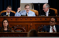 United States Representative Jim Jordan (Republican of Ohio) questions Special Advisor for Europe and Russia in the office of US Vice President Mike Pence, Jennifer Williams and Director for European Affairs of the National Security Council, US Army Lieutenant Colonel Alexander Vindman during the House Permanent Select Committee on Intelligence public hearing on the impeachment inquiry into US President Donald J. Trump, on Capitol Hill in Washington, DC, USA, 19 November 2019. The impeachment inquiry is being led by three congressional committees and was launched following a whistleblower's complaint that alleges US President Donald J. Trump requested help from the President of Ukraine to investigate a political rival, Joe Biden and his son Hunter Biden.<br /> Credit: Shawn Thew / Pool via CNP/AdMedia