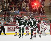 Tyler Sikura (Dartmouth - 16) and Rick Pinkston (Dartmouth - 7) celebrate Pinkston's goal. - The Harvard University Crimson tied the visiting Dartmouth College Big Green 3-3 in both team's first game of the season on Saturday, November 1, 2014, at Bright-Landry Hockey Center in Cambridge, Massachusets.