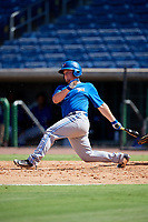 Toronto Blue Jays first baseman Brett Wright (20) follows through on a swing during a Florida Instructional League game against the Philadelphia Phillies on September 24, 2018 at Spectrum Field in Clearwater, Florida.  (Mike Janes/Four Seam Images)