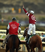 DEL MAR, CA - NOVEMBER 04: Florent Geroux, aboard Gun Runner #5, waves to the crowd after winning the Breeders' Cup Classic race on Day 2 of the 2017 Breeders' Cup World Championships at Del Mar Racing Club on November 4, 2017 in Del Mar, California. (Photo by John Durr/Eclipse Sportswire/Breeders Cup)
