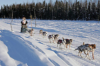 Sunday, February 25th, Knik, Alaska.  Jr. Iditarod musher Quinn Iten on the home stretch about a mile from the finish line