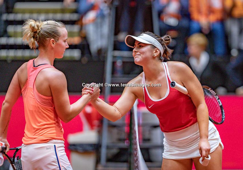 Den Bosch, The Netherlands, Februari 9, 2019,  Maaspoort , FedCup  Netherlands - Canada, First round match : Richel Hogenkamp (NED) gongratulates Bianca Andreescu (CAN) she puts Canada in a 1-0 lead<br /> Photo: Tennisimages/Henk Koster