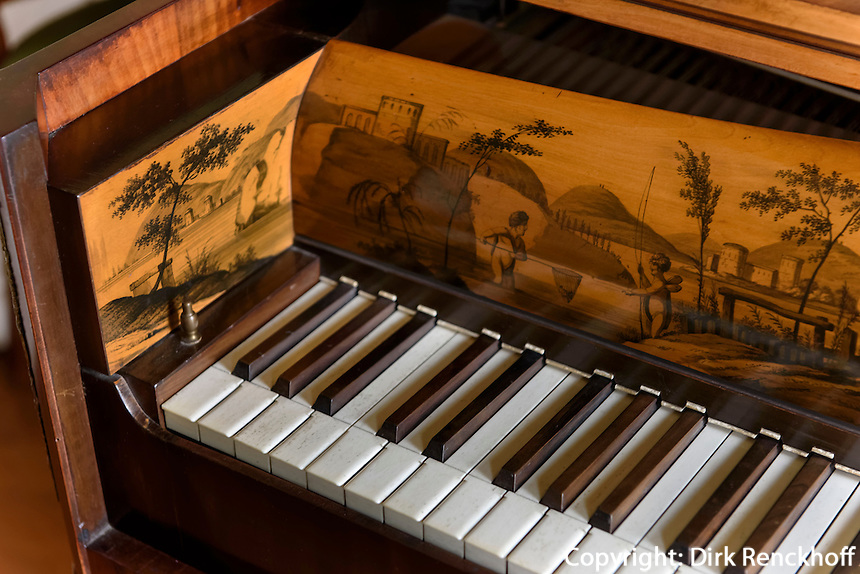 Klavier im W&ouml;rlitzer Schloss, Parkanlage W&ouml;rlitzer Garten, Sachsen-Anhalt, Deutschland, Europa, UNESCO-Weltkulturerbe<br /> Piano in W&ouml;rlitz Palace, W&ouml;rlitz Gardens, Saxony-Anhalt, Germany, Europe, UNESCO-World Heritage