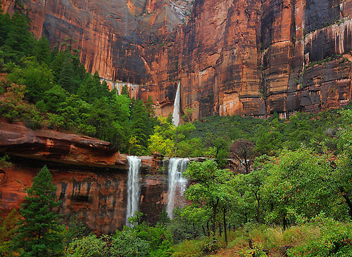 Three waterfalls are produced during a heavy rain at The Emerald Pools at zion National Park