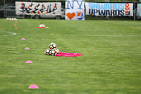 Piscataway, NJ - Sunday April 30, 2017: balls, cones, pinnies, and banners during a regular season National Women's Soccer League (NWSL) match between Sky Blue FC and FC Kansas City at Yurcak Field.