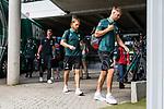 01.09.2019, wohninvest WESERSTADION, Bremen, GER, 1.FBL, Werder Bremen vs FC Augsburg<br /> <br /> DFL REGULATIONS PROHIBIT ANY USE OF PHOTOGRAPHS AS IMAGE SEQUENCES AND/OR QUASI-VIDEO.<br /> <br /> im Bild / picture shows<br /> Michael Lang (Neuzugang Werder Bremen #04) und Niclas Füllkrug / Fuellkrug (Werder Bremen #11) bei Ankunft am Stadion, <br /> <br /> Foto © nordphoto / Ewert