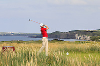 Ben Westgate (WAL) on the 15th tee during the Afternoon Singles between Ireland and Wales at the Home Internationals at Royal Portrush Golf Club on Thursday 13th August 2015.<br /> Picture:  Thos Caffrey / www.golffile.ie