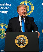 United States President Donald J. Trump delivers remarks at the Unleashing American Energy event at the Department of Energy in Washington, D.C. on June 29, 2017. Trump announced a number on initiatives including his Administration's plan on rolling back regulations on energy production and development. <br /> Credit: Kevin Dietsch / Pool via CNP