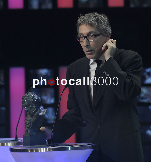"David Trueba gives a speech after winning the Goya award for best director for the film  ""Vivir es facil con los ojos cerrados"" at the Goya Film Awards ceremony in Madrid on February 9, 2014. Photo by Ivan Espinola/ DyD FOTOGRAFOS-DYDPPA"
