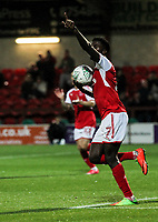 Fleetwood Town's Jordy Hiwula celebrates scoring a goal  <br /> <br /> Photographer Andrew Kearns/CameraSport<br /> <br /> The Carabao Cup First Round - Fleetwood Town v Carlisle United Kingdom - Tuesday 8th August 2017 - Highbury Stadium - Fleetwood<br />  <br /> World Copyright &copy; 2017 CameraSport. All rights reserved. 43 Linden Ave. Countesthorpe. Leicester. England. LE8 5PG - Tel: +44 (0) 116 277 4147 - admin@camerasport.com - www.camerasport.com