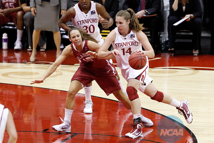 04 APR 2010:  Stanford University forward Kayla Pedersen (14) drives to the goal against University of Oklahoma forward Carleee Roethlisberger during the Division I Women's Basketball Semifinals held at the Alamodome during the 2010 Women's Final Four in San Antonio, TX.  Stanford defeated Oklahoma by a score of 73-66.  Trevor Brown, Jr./NCAA Photos