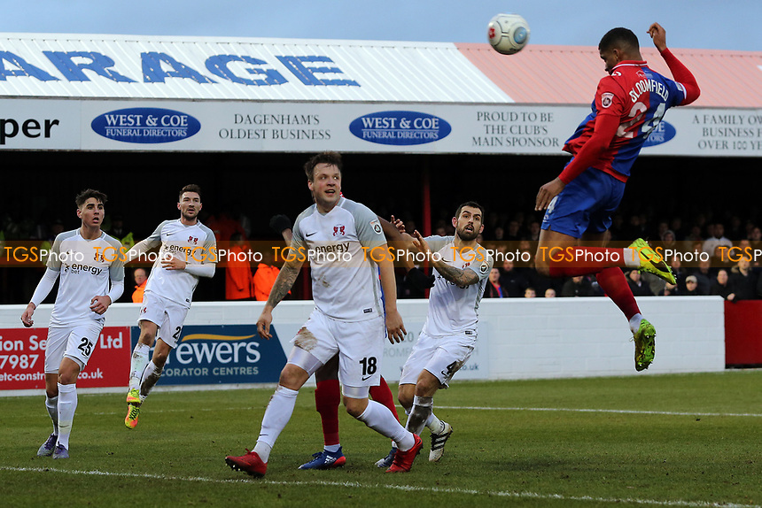 Mason Bloomfield of Dagenham goes close with a header during Dagenham & Redbridge vs Leyton Orient, Vanarama National League Football at the Chigwell Construction Stadium on 1st January 2018