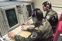 - international crew of a NATO radar aircraft AWACS with Italian military....- equipaggio internazionale di un aereo radar AWACS della NATO con militari italiani