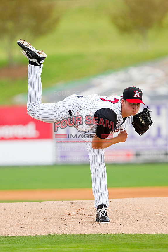 Starting pitcher Jacob Petricka #17 of the Kannapolis Intimidators follows through on his delivery against the West Virginia Power at Fieldcrest Cannon Stadium on April 20, 2011 in Kannapolis, North Carolina.   Photo by Brian Westerholt / Four Seam Images