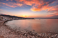 Sunset behind the town of Spetses island, Greece