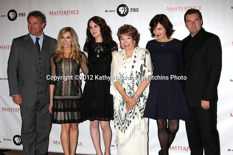 """LOS ANGELES - JUL 21:  Hugh Bonneville, Joanne Froggatt, Michelle Dockery, Shirley MacLaine, Elizabeth McGovern, Brendan Coyle at a photocall for """"Downton Abby"""" at Beverly Hilton Hotel on July 21, 2012 in Beverly Hills, CA"""