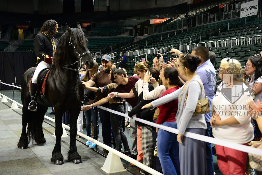 """CORAL GABLES, FL - APRIL 27: Rene Gasser's Rides """"Gala of the Royal Horses""""  Into North America for the First Time Ever in 2014 at BankUnited Center which include Gala of the Royal Horses, Lipizzaner's With the Stars, Equestra and El Caballo Blanco on April 27, 2014 in Coral Gables, Florida.  (Photo by Johnny Louis/jlnphotography.com)"""