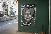 One of the posters critical of Hillary Clinton outside of Clinton's Brooklyn Heights headquarters on Sunday, April 12, 2015. The anonymous posters have been wheat-pasted all over the Brooklyn Heights neighborhood where her campaign offices are located. (© Richard B. Levine)