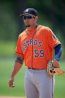 Houston Astros Bryan Muniz (59) during practice before a minor league Spring Training game against the Detroit Tigers on March 30, 2016 at Tigertown in Lakeland, Florida.  (Mike Janes/Four Seam Images)