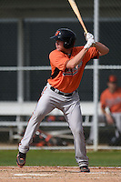 Catcher Tanner Murphy (18) of the Baltimore Orioles organization during a minor league spring training camp day game on March 23, 2014 at Buck O'Neil Complex in Sarasota, Florida.  (Mike Janes/Four Seam Images)