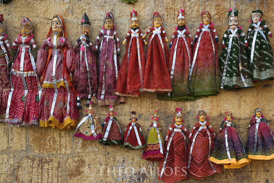 Rajasthani puppets; they are a part of the traditional performance of puppetry - narrating an event from history, myths, folklore or legend, complete with music and speech; Rajasthan, India