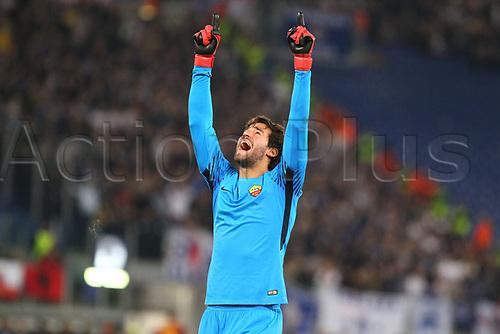31st October 2017, Stadio Olimpico, Rome, Italy; UEFA Champions League, Roma versus Chelsea; Allison of AS Roma celebrates victory