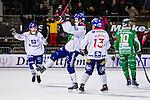 Stockholm 2013-11-26 Bandy Elitserien Hammarby IF - Edsbyns IF :  <br /> Edsbyn Mattias Hammarstr&ouml;m jublar med lagkamrater efter sitt 1-0 m&aring;l<br /> (Foto: Kenta J&ouml;nsson) Nyckelord:  jubel gl&auml;dje lycka glad happy