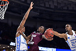 GREENVILLE, SC - MARCH 17: Demontrae Jefferson (3) of Texas Southern University has his shot blocked by Seventh Woods (21) of the University of North Carolina during the 2017 NCAA Men's Basketball Tournament held at Bon Secours Wellness Arena on March 17, 2017 in Greenville, South Carolina. (Photo by Grant Halverson/NCAA Photos via Getty Images)