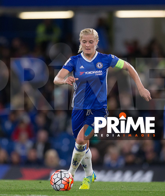 Katie Chapman of Chelsea Ladies during the UEFA Women's Champions League match between Chelsea Ladies and VfL Wolfsburg at Stamford Bridge, London, England on 5 October 2016. Photo by Andy Rowland.