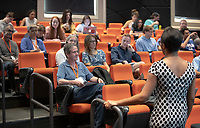 ART HISTORY 150, History of Urban Design with Kelema Lee Moses, Assistant Professor, Art and Art History on Friday, October 19, 2018 in Choi Auditorium.<br /> Homecoming and Family Weekend 2018 - Student for a Day, a Homecoming tradition, gives a snapshot of academic life for today's Oxy students.<br /> (Photo by Marc Campos, Occidental College Photographer)