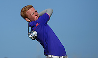 Amateur Keith Bowman tees off during Round 2 of the 2015 Alfred Dunhill Links Championship at the Old Course, St Andrews, in Fife, Scotland on 2/10/15.<br /> Picture: Richard Martin-Roberts | Golffile