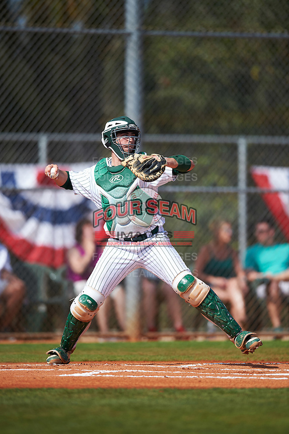 Eastern Michigan Eagles catcher Robert Iacobelli (49) warmup throw down to second base during a game against the Dartmouth Big Green on February 25, 2017 at North Charlotte Regional Park in Port Charlotte, Florida.  Dartmouth defeated Eastern Michigan 8-4.  (Mike Janes/Four Seam Images)