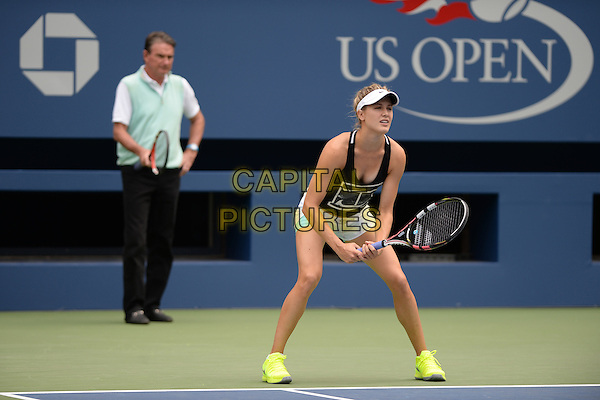 FLUSHING NY- AUGUST 30: Eugenie Bouchard on the practice court with her coach Jimmy Connors at the USTA Billie Jean King National Tennis Center on August 30, 2015 in Flushing Queens. <br /> CAP/MPI/MPI04<br /> &copy;MPI04/MPI/Capital Pictures