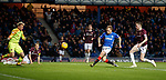 03.04.2019 Rangers v Hearts: Scott Arfield latches on to the rebound to score goal no 3