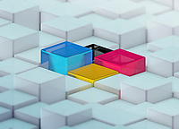 CMYK colored cubes standing out from uneven surface pattern