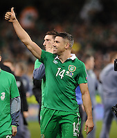 16/11/2015;UEFA 2016 European Championship Play-Off Ireland vs Bosnia-Herzegovina 2nd Leg,Aviva Stadium,Dublin <br /> Republic of Irelnad&rsquo;s Jonathan Walters celebrates after the game.<br /> Photo Credit: actionshots.ie/Tommy Grealy