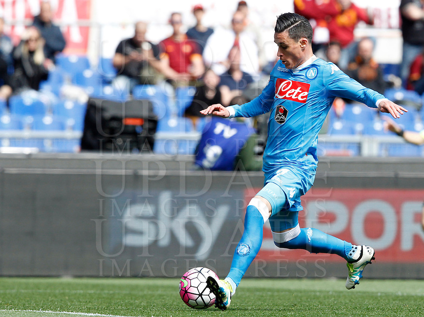 Calcio, Serie A: Roma vs Napoli. Roma, stadio Olimpico, 25 aprile 2016.<br /> Napoli's Jose' Maria Callejon in action during the Italian Serie A football match between Roma and Napoli at Rome's Olympic stadium, 25 April 2016.<br /> UPDATE IMAGES PRESS/Riccardo De Luca
